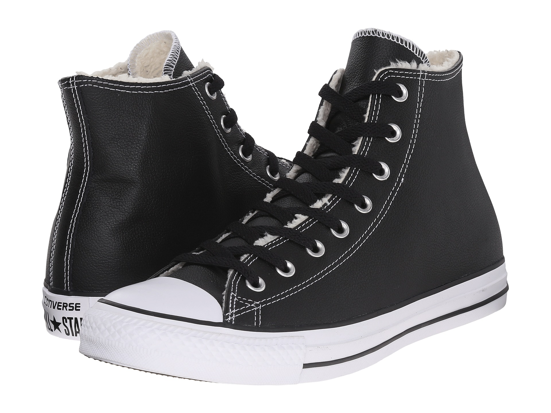 Converse All Star Chuck Taylor Black Leather Shearling High